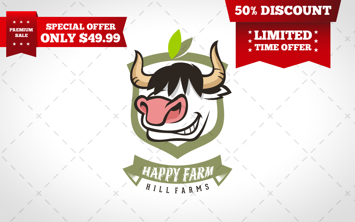 happy cow logo for sale