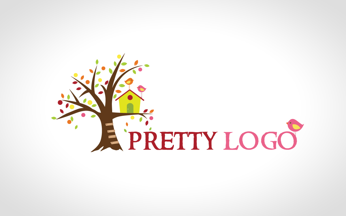 pretty tree logo bird logo