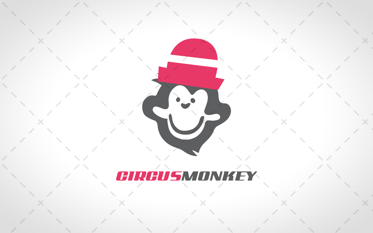 Circus Monkey Head Logo For Sale