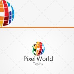Pixel World Business Logo For Sale