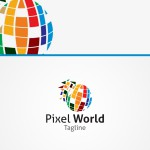 Pixel World Business Logo For Sale