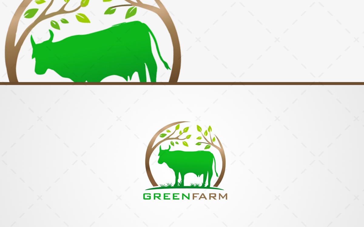 Fresh Farm Logo For Sale Green Cow Logo - Lobotz