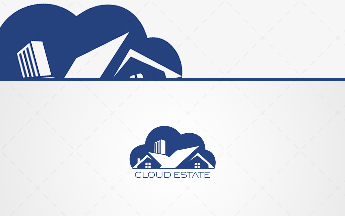 Modern estate logo cloud house logo for sale lobotz for Modern house logo