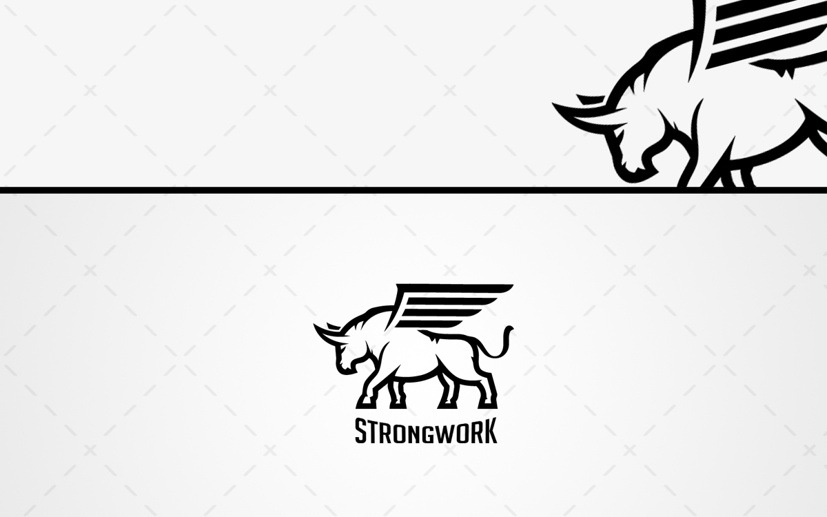 strong winged ox logo for sale