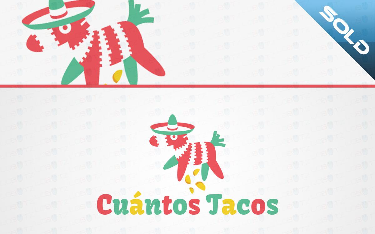 Cuantos Tacos Mexican Food Custom Logo