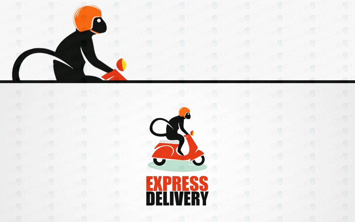 monkey scooter delivery logo for sale
