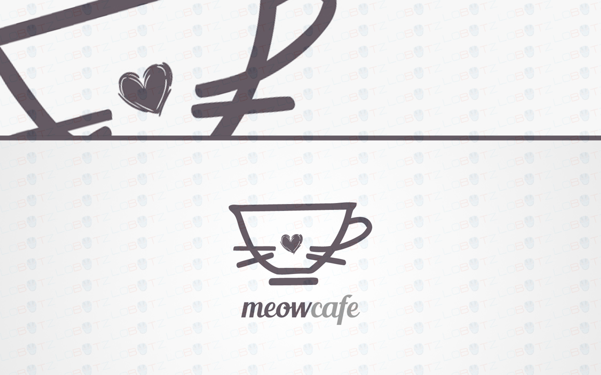 cat cafe logo for sale