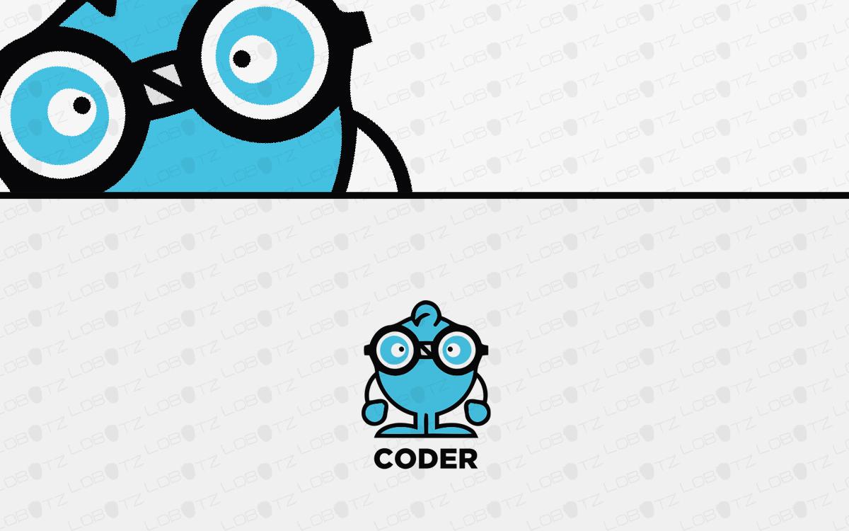 funny coder logo for sale