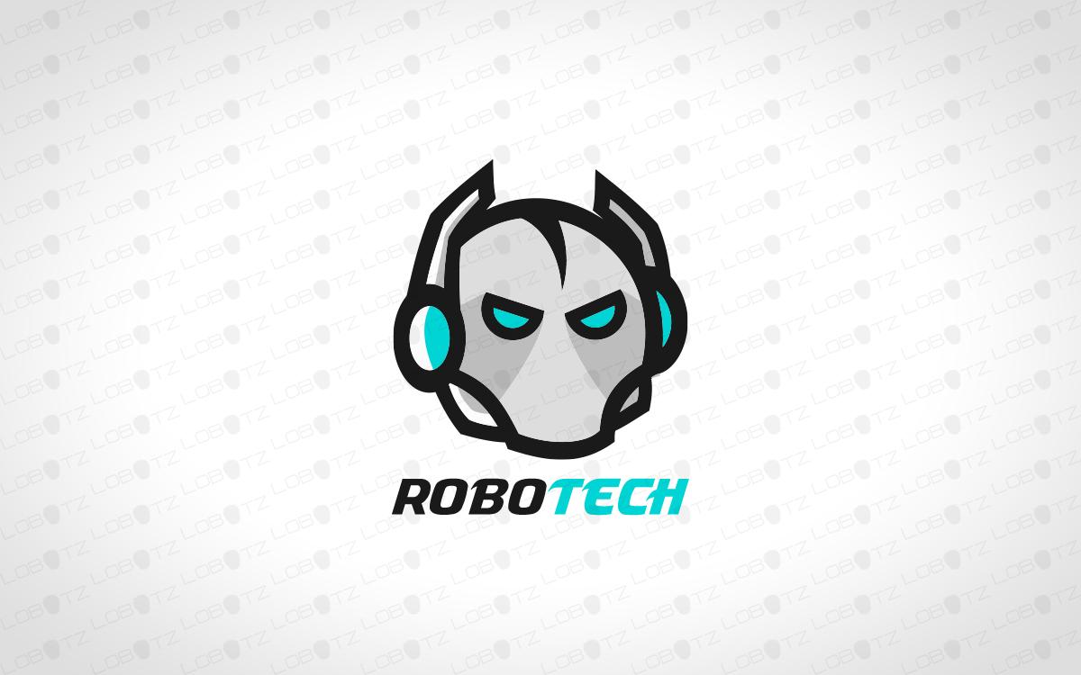 modern robot head logo for sale premade logo lobotz