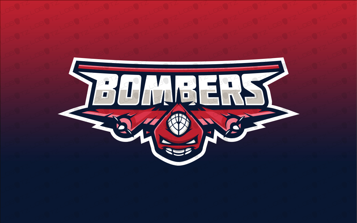 bomber fighter jet mascot logo