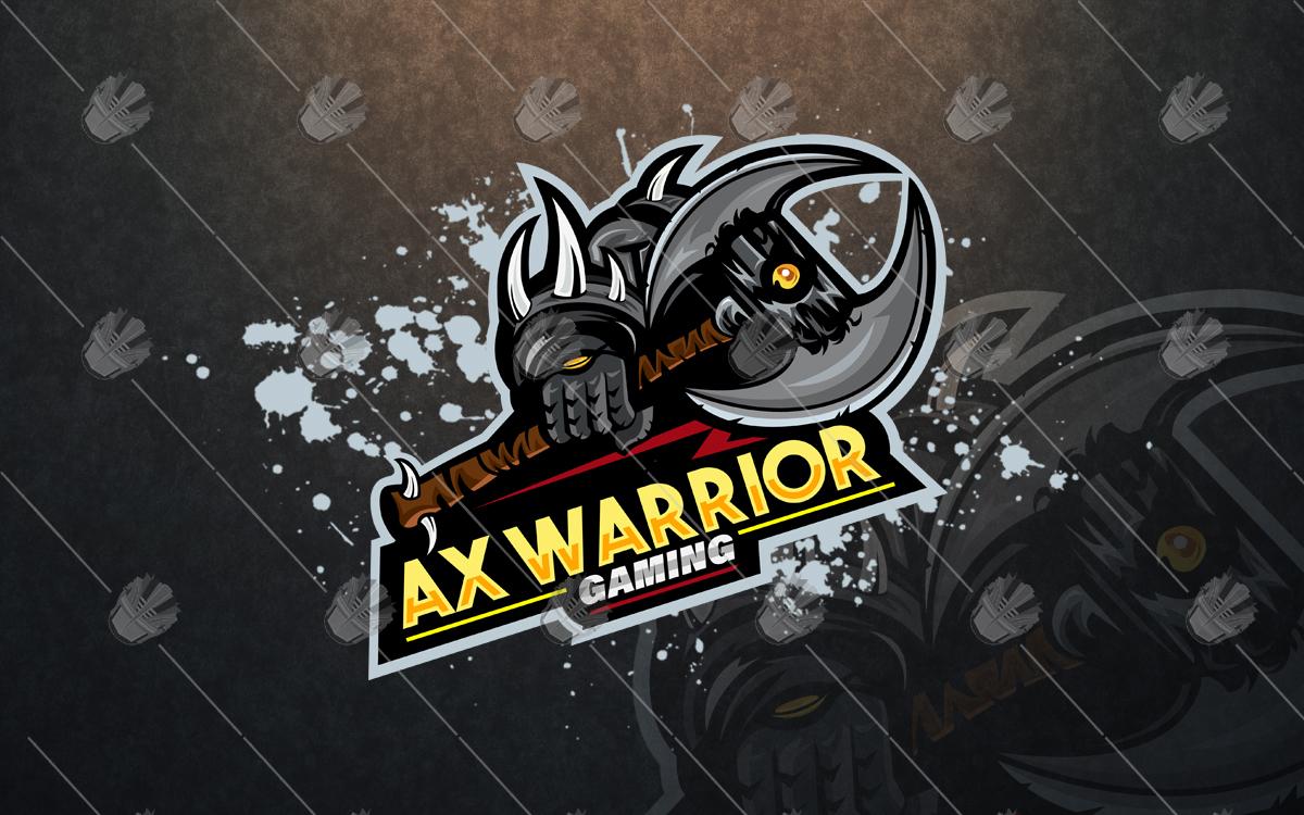 spectacular axe warrior gaming mascot logo