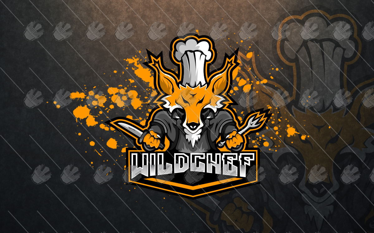 chef wolf mascot logo