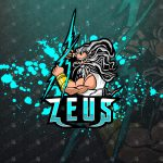 Zeus eSports Logo | Thunder God Zeus Mascot Logo For Sale