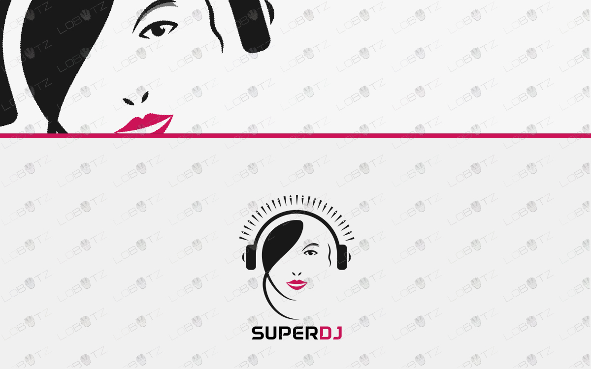 girl dj logo for sale