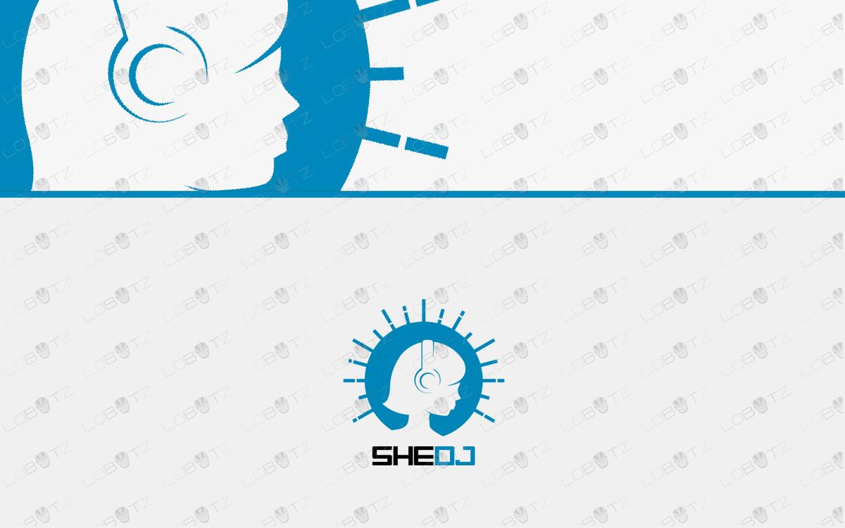 girl dj logo for sale music logo