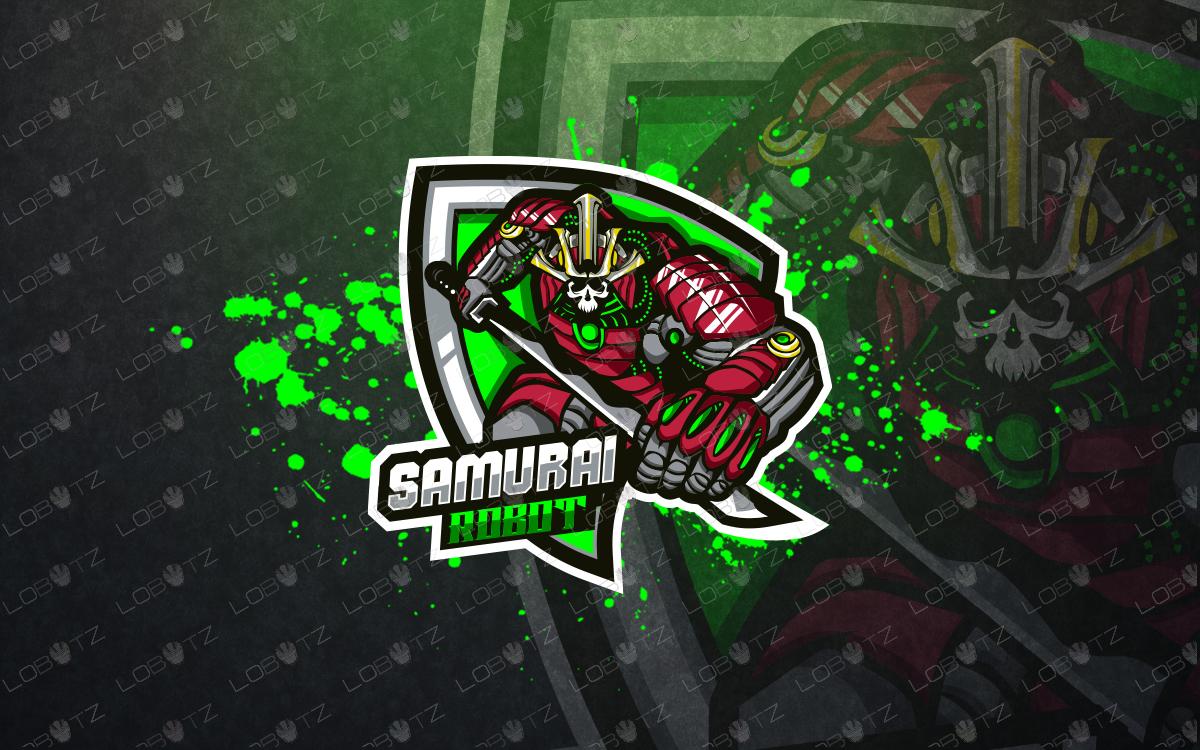 robotic samurai mascot logo samurai esports logo