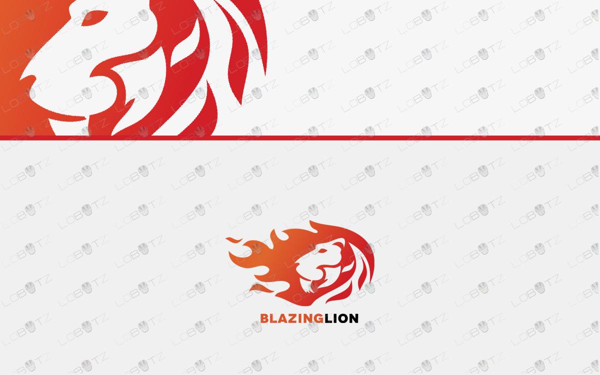 fire lion logo for sale premade logo