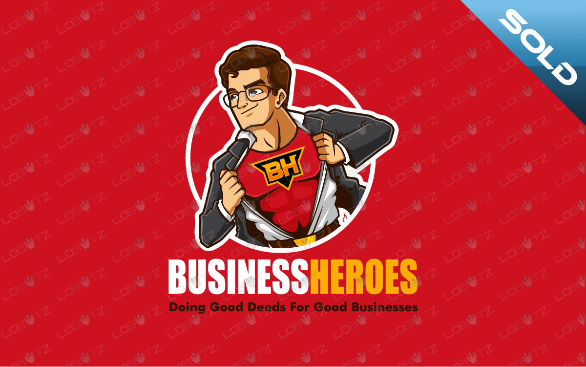 business hero for sale premade cartoon logo