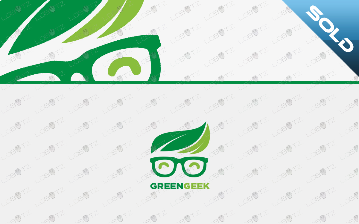 green geek logo nerd logo for sale