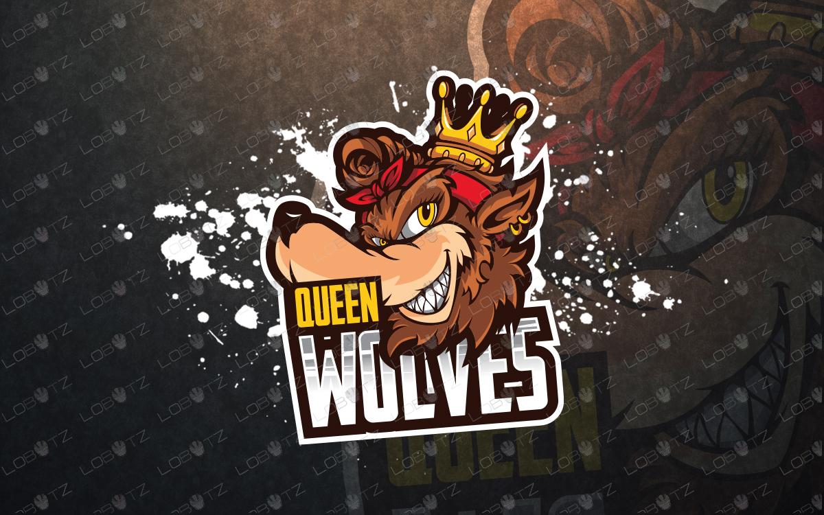 premade queen wolf mascot logo queen wolf esports logo