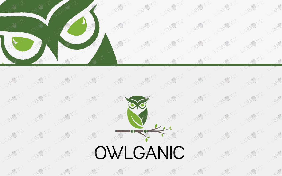 leaf owl logo Nature Leaves Owl Logo