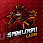 Samurai Lion Mascot Logo – Lion eSports Logo For Sale