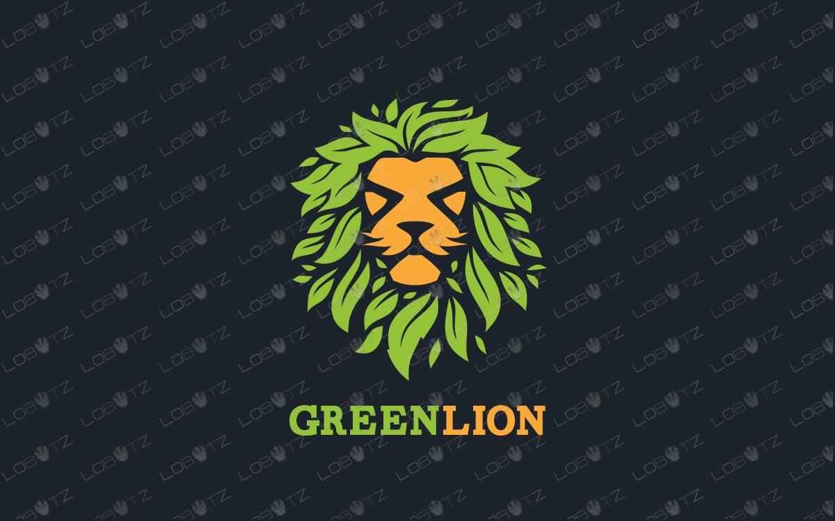 green leaves lion logo for sale