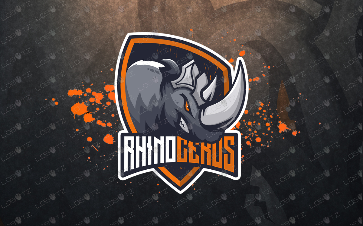 premade rhino mascot logo for sale