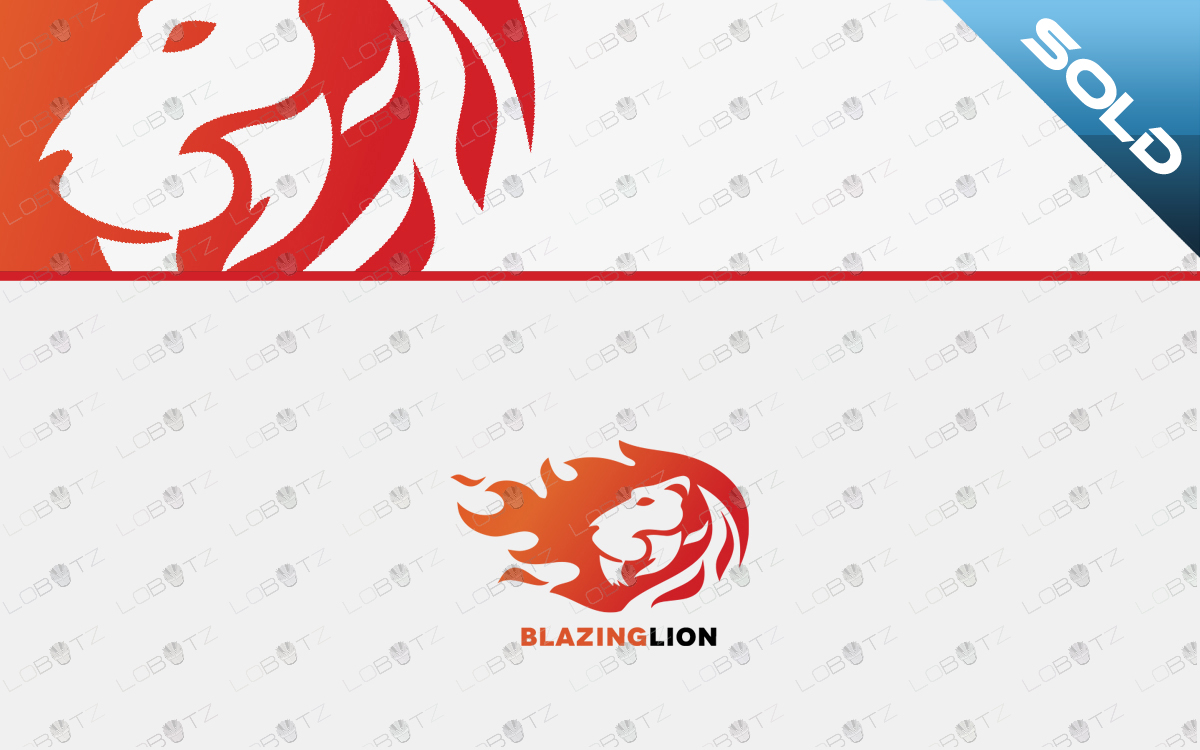 fire lion logo for sale premade logo