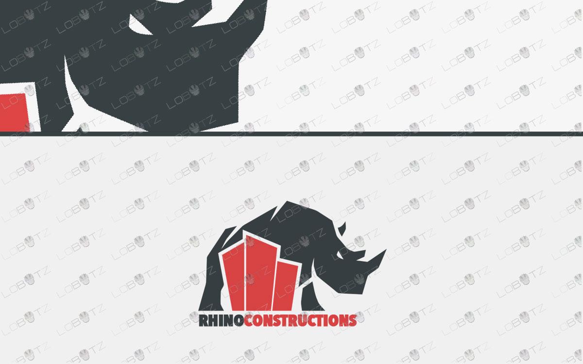premade rhino logo for sale
