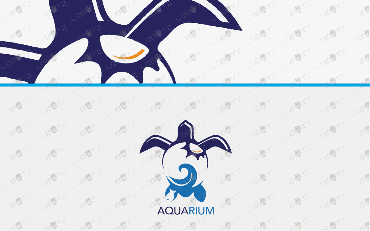 Aquarium Turtle Logo For Sale