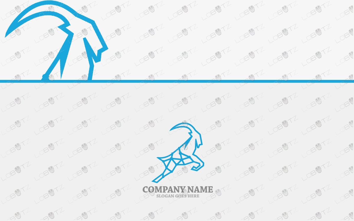 premade geometric goat logo for sale