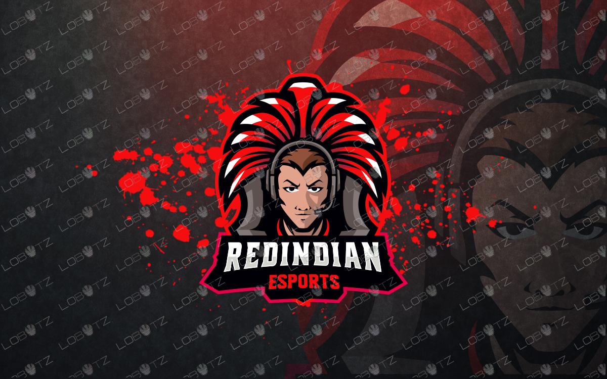 indian chief gamer mascot logo gamer esports logo