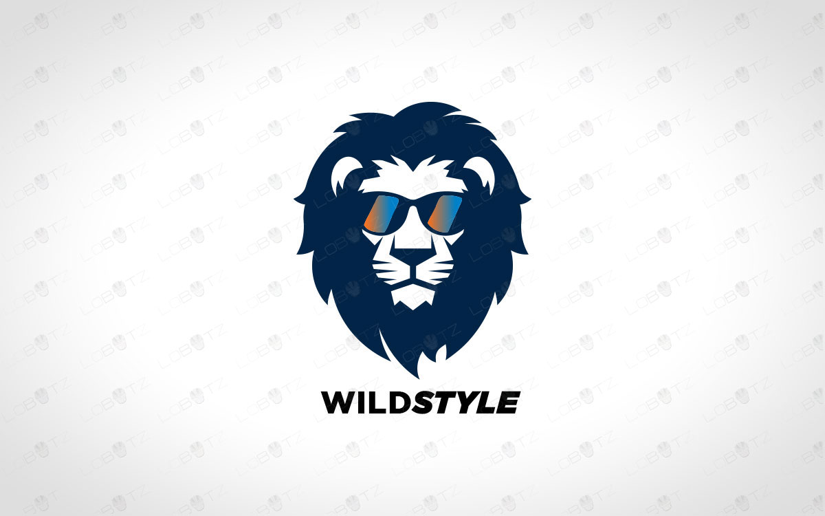 stylish lion logo for sale lion with glasses logo