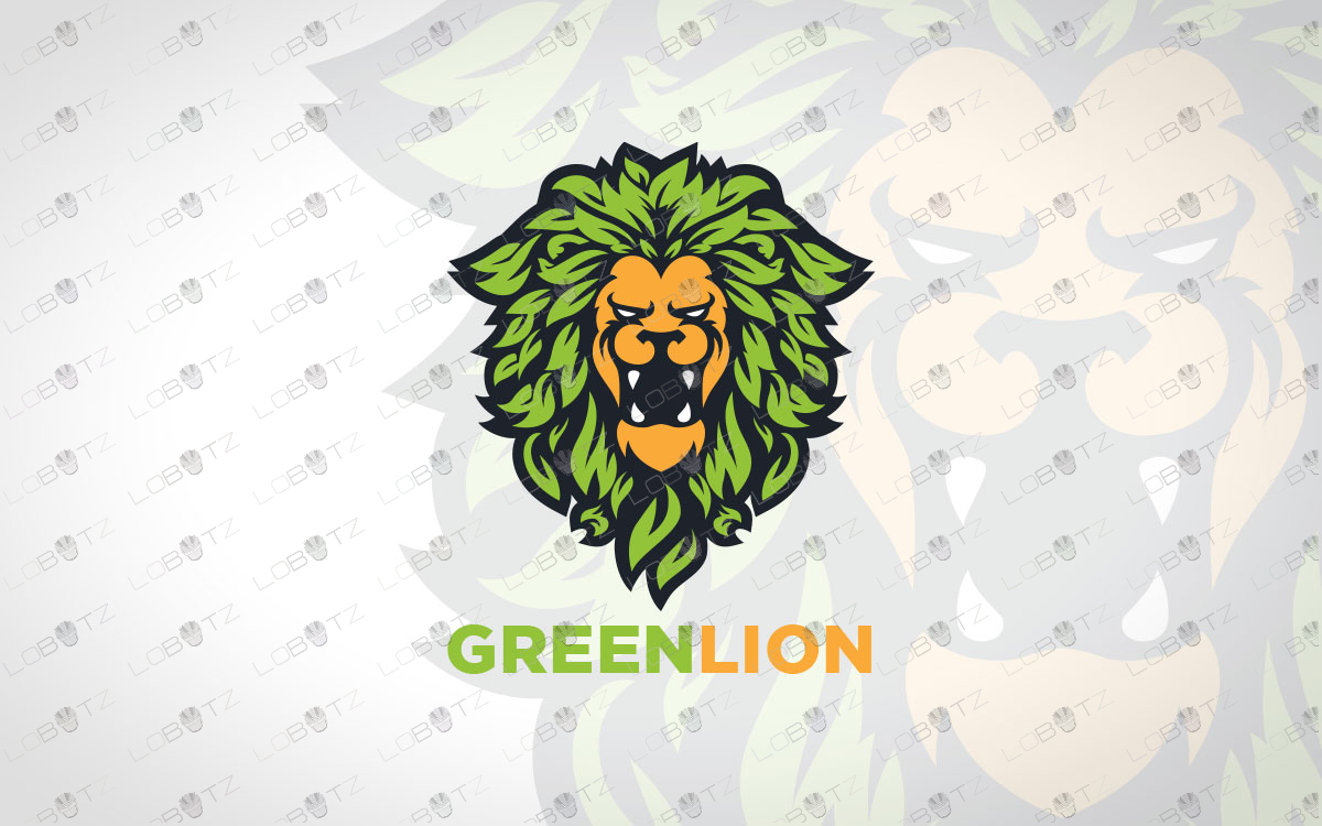 leaf lion logo for sale green lion logo premade logos