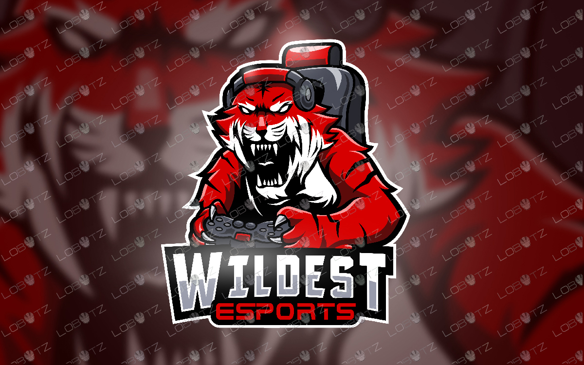 Gamer Tiger Mascot Logo Gamer Tiger eSports Logo Gaming Logo Tiger Gamer