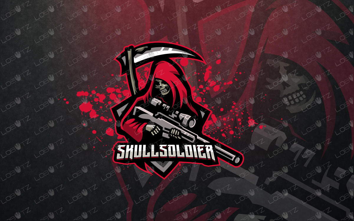 soldier mascot logo skull soldier esports logo for sale premade logos grim reaper