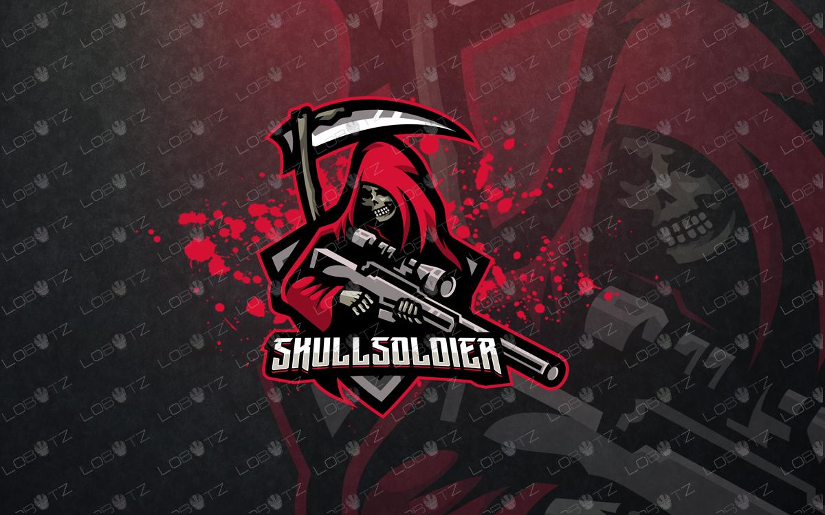 soldier mascot logo skull soldier esports logo for sale premade logos grim reaper