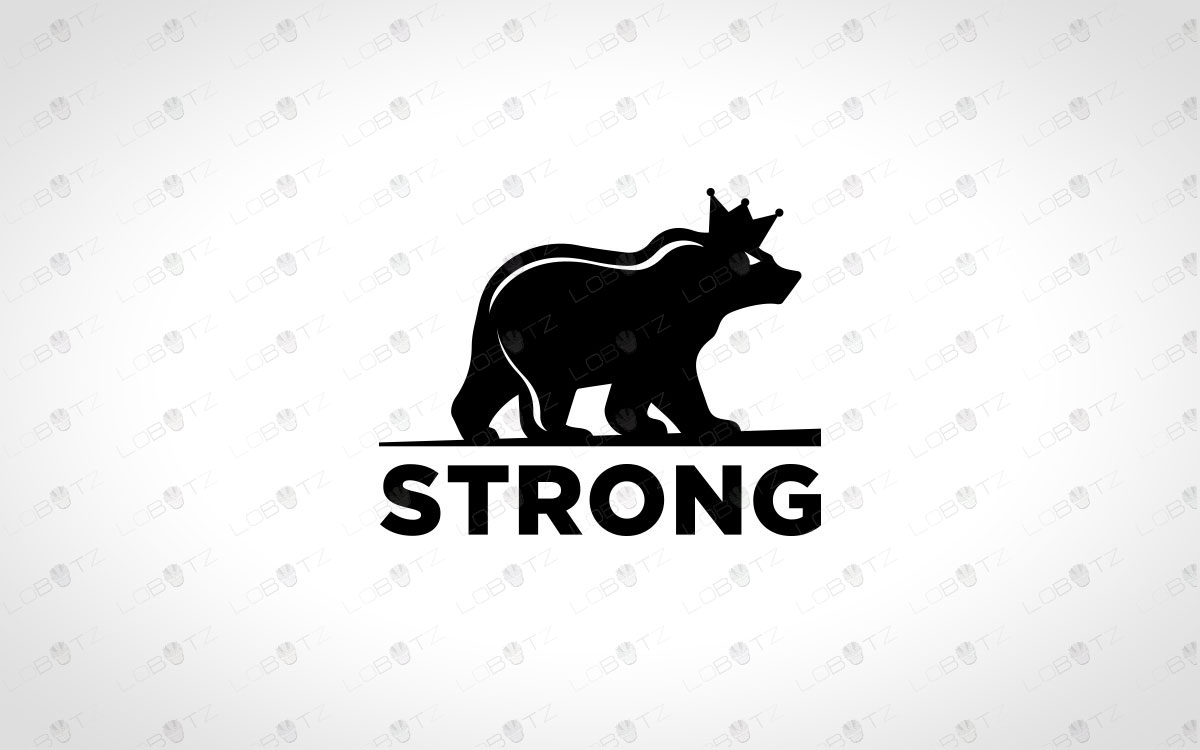 premade king bear logo for sale