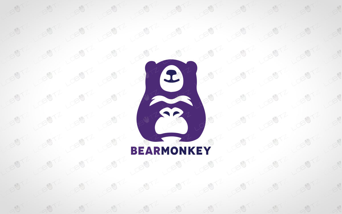 Minimalist bear logo and monkey logo premade logos business logos