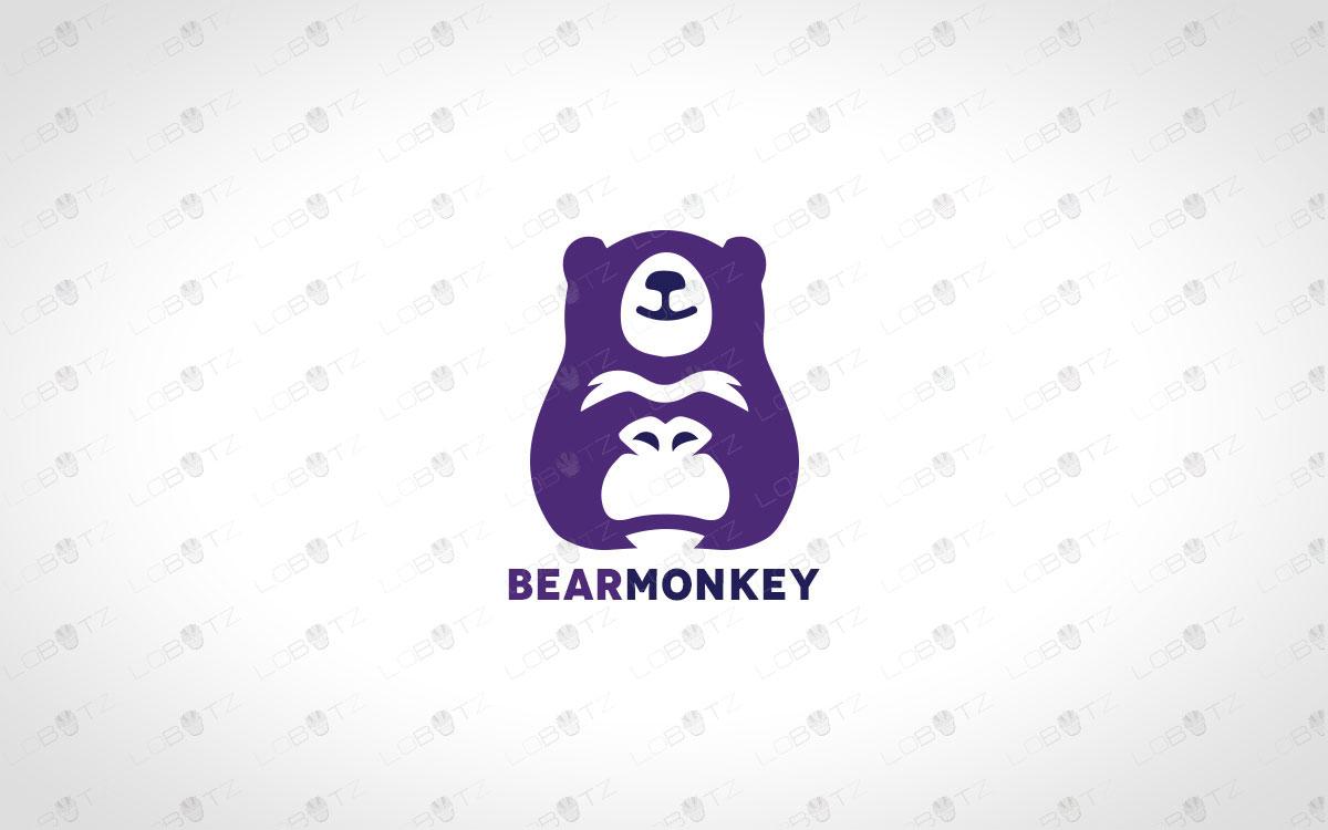 Minimalist bear logo and monkey logo premade logos business logos