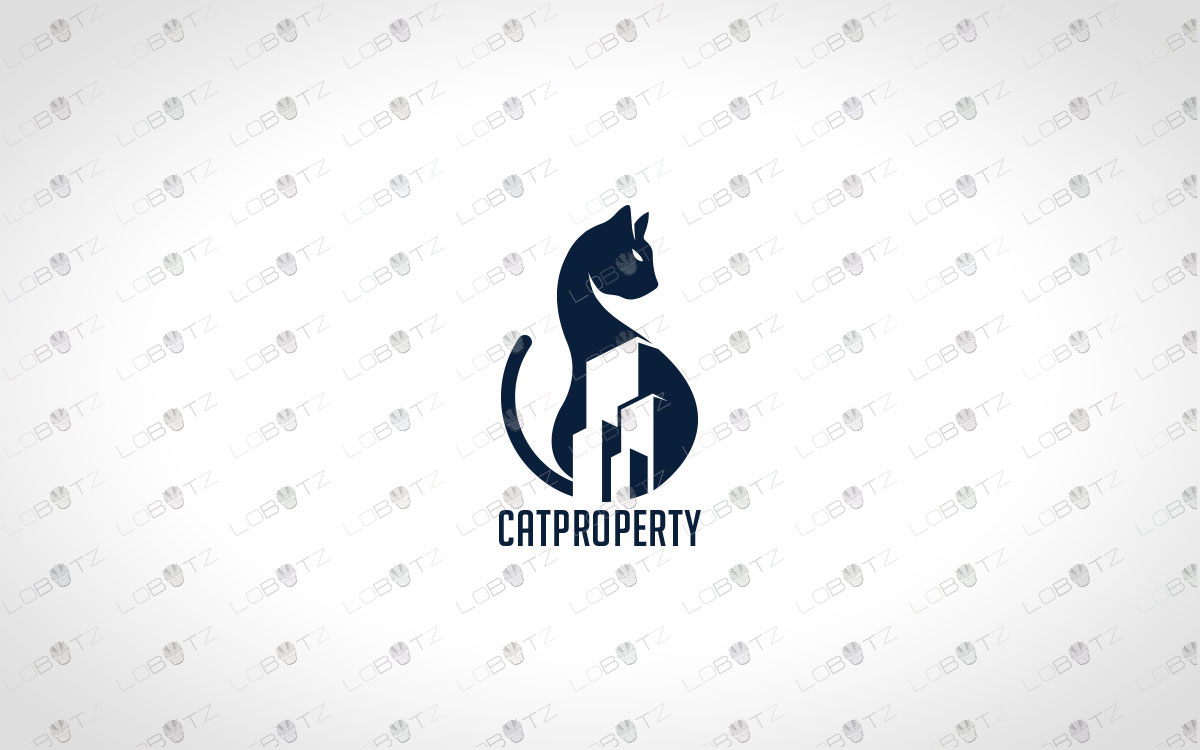 Modern Cat Logo For Sale | Minimalist Cat Logo cat estate property logo estate agent