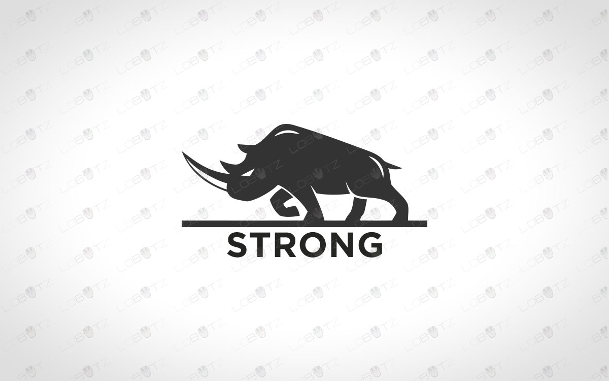 premade minimalist strong rhino logo for sale