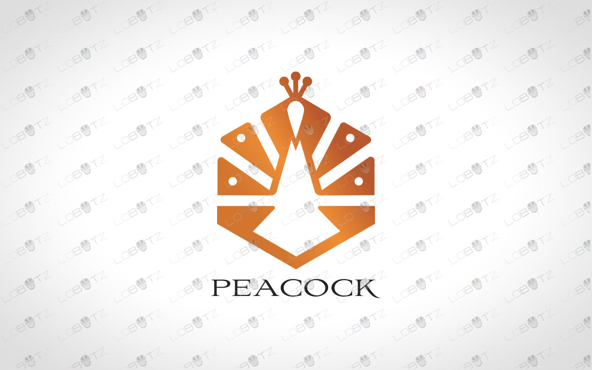 Minimalist Peacock Logo Elegant Peacock Logo For Sale