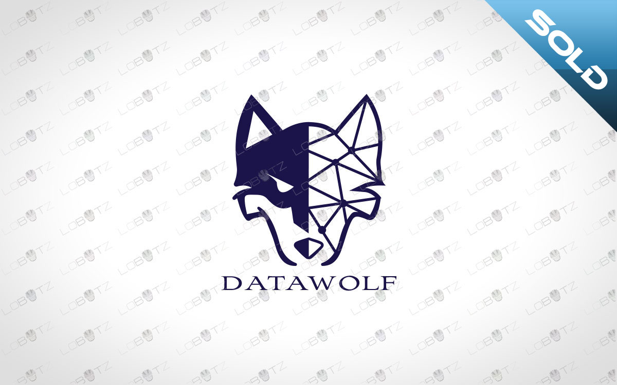Digital Wolf Logo | Premade Data Wolf Logo For Sale