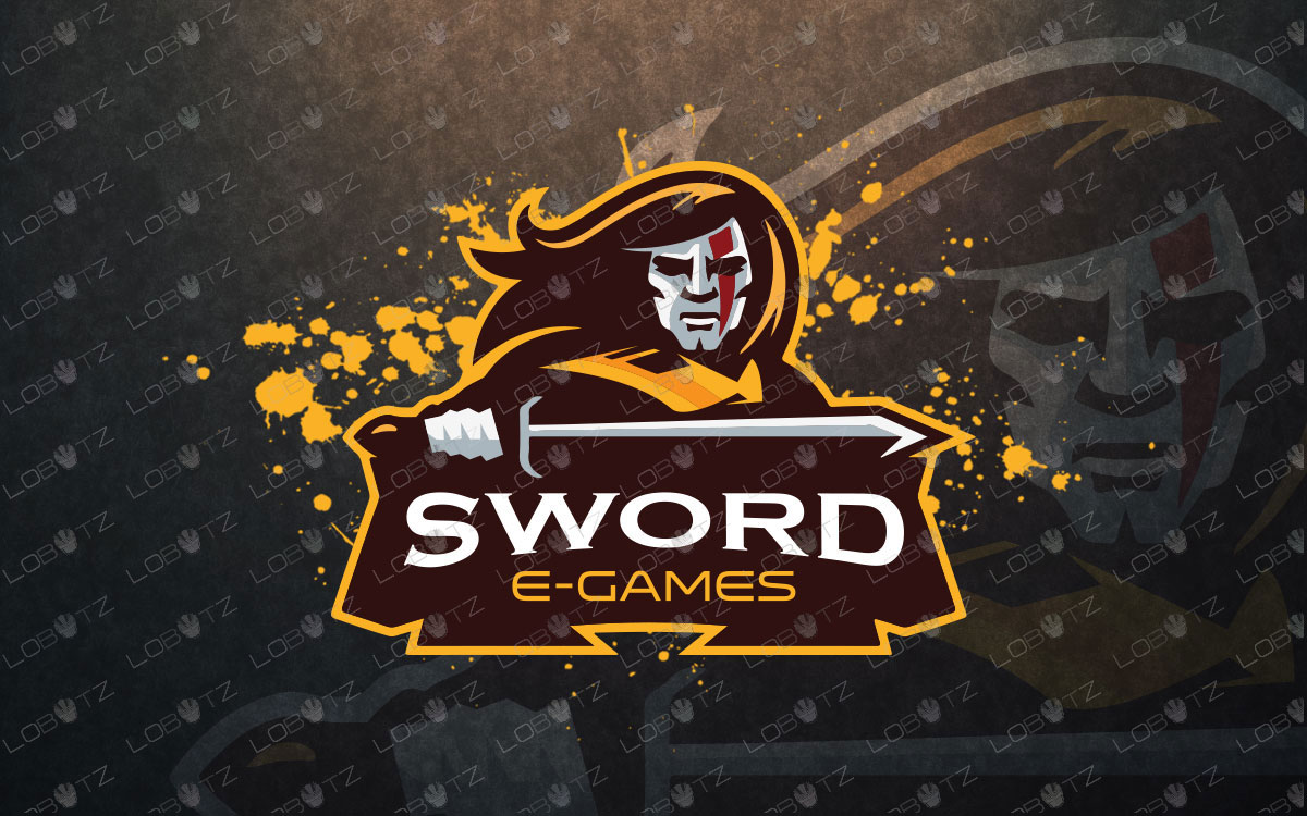 Sword Mascot Logo For Sale Warrior Mascot Logo premade logos