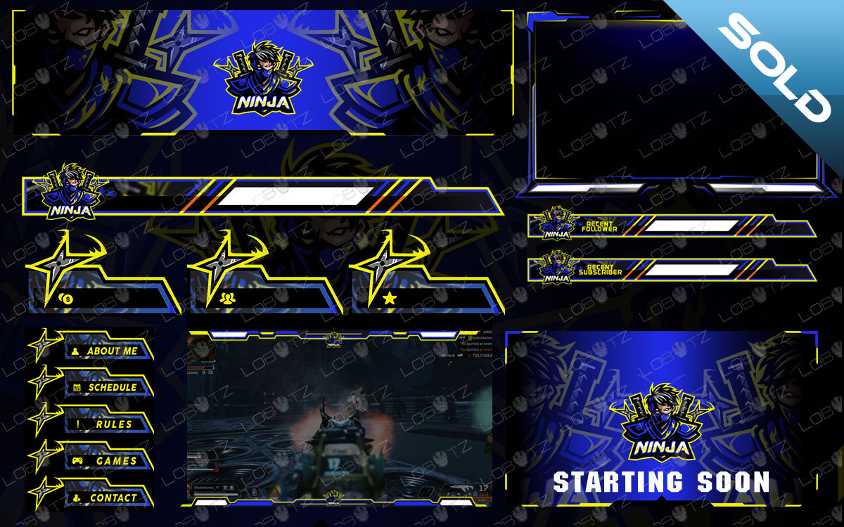 Premium Ninja Twitch Overlay Stream Package With Unique Ninja Logo