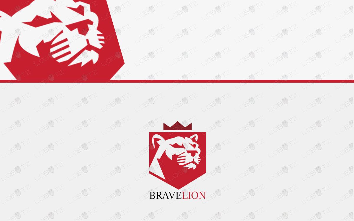 Brave Lion Logo   Majestic King Lion Logo For Sale