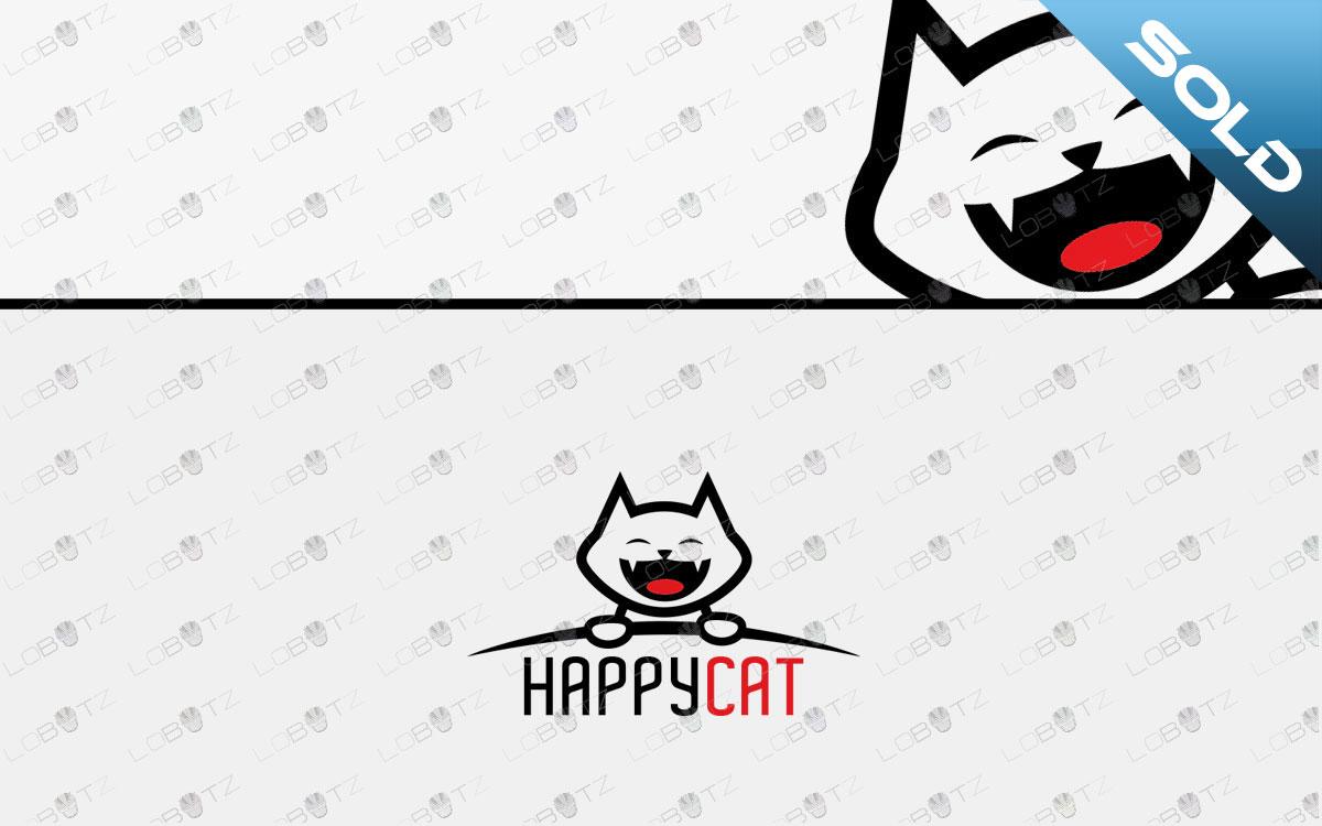 Premade Modern Happy Cat Logo For Sale