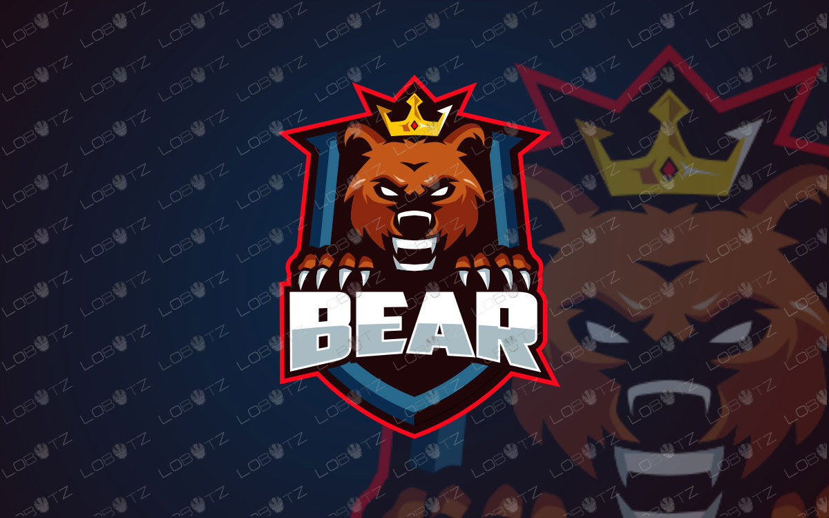 King Bear Mascot Logo For Sale Readymade Bear eSports Logo